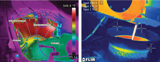 Infrared Camera Shows Temperatures In The Cylinders Rising Above 500°F