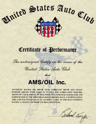 1980 Indy 500 Amsoil Certificate Of Performance